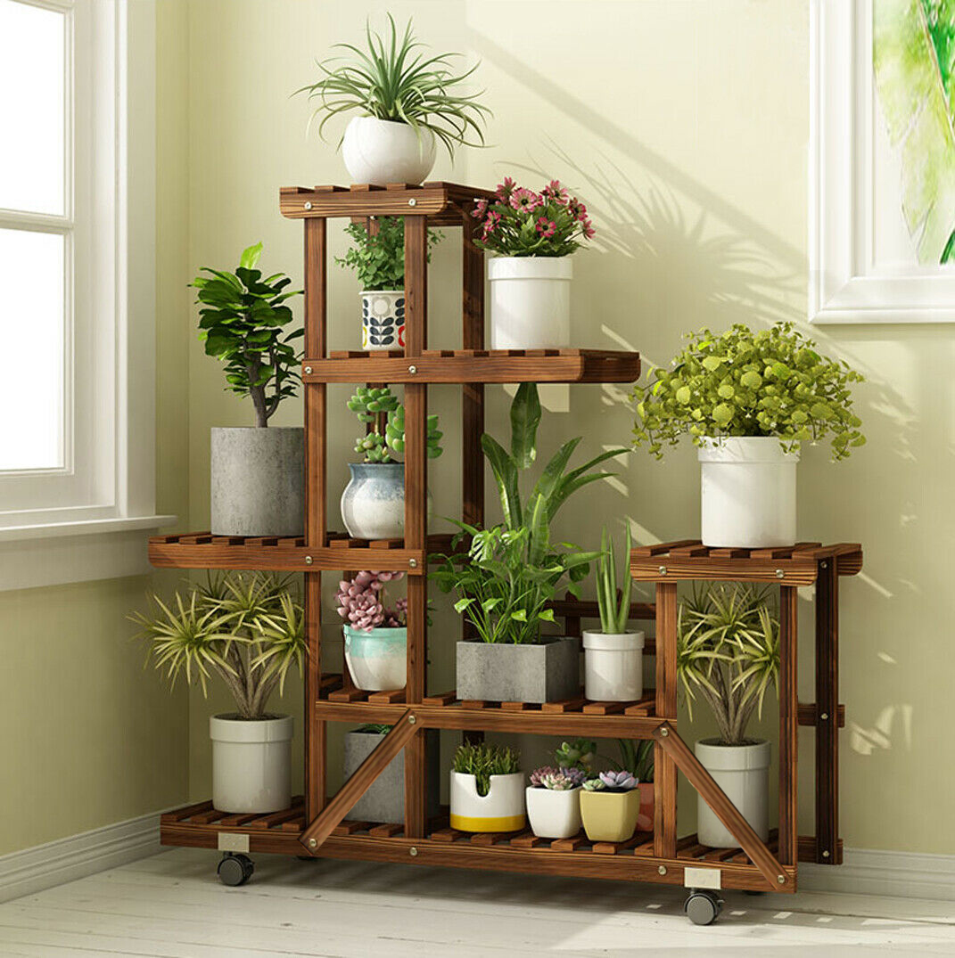 Wood Plant Stand Vertical Carbonized