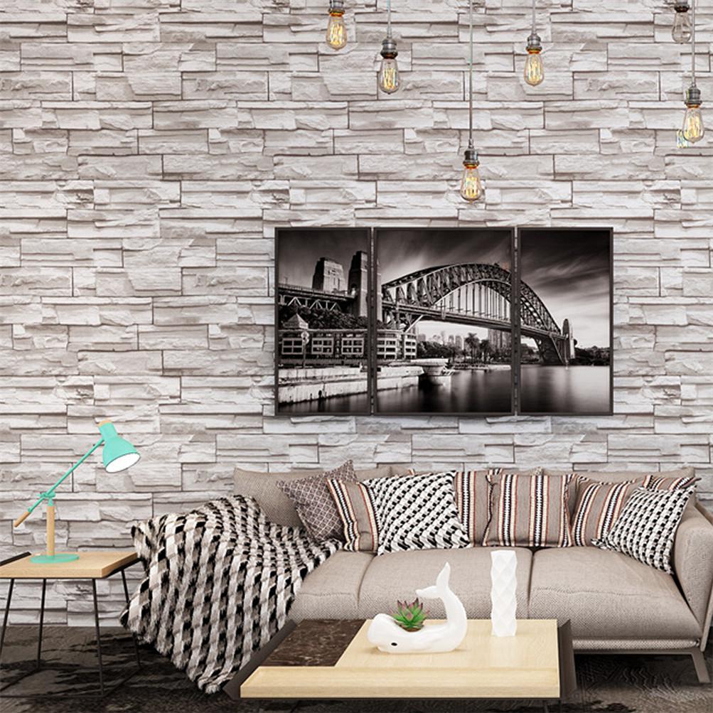 3D Wallpaper Bedroom Living Mural Roll Modern Faux Brick Stone Wall USA Stock