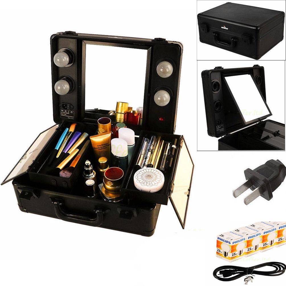 lighted studio togo wheeled trolley makeup case large vanity led makeup mirror ebay. Black Bedroom Furniture Sets. Home Design Ideas