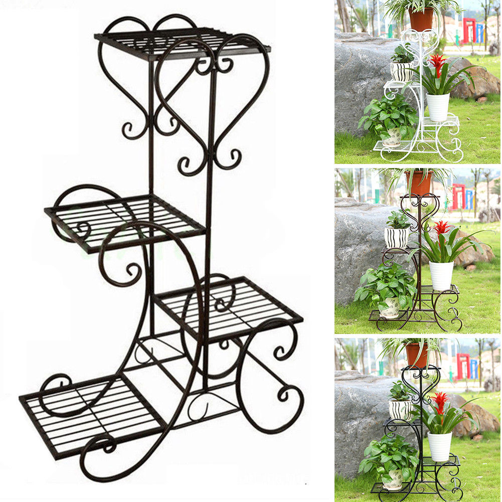 Details About 4tier Pot Metal Plant Planter Stand Home Patio Garden Outdoor Black White Brown