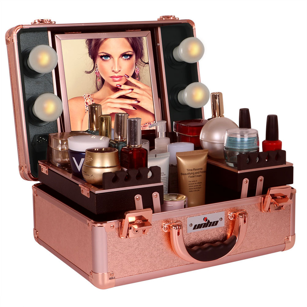 Pro Portable Lighted Cosmetic Make Up Travel Train Case