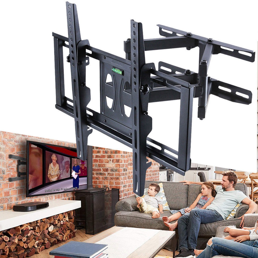 Details About Heavy Duty Dual Arm Full Motion Tilt Tv Wall Mount Bracket 32 70 For Most Model