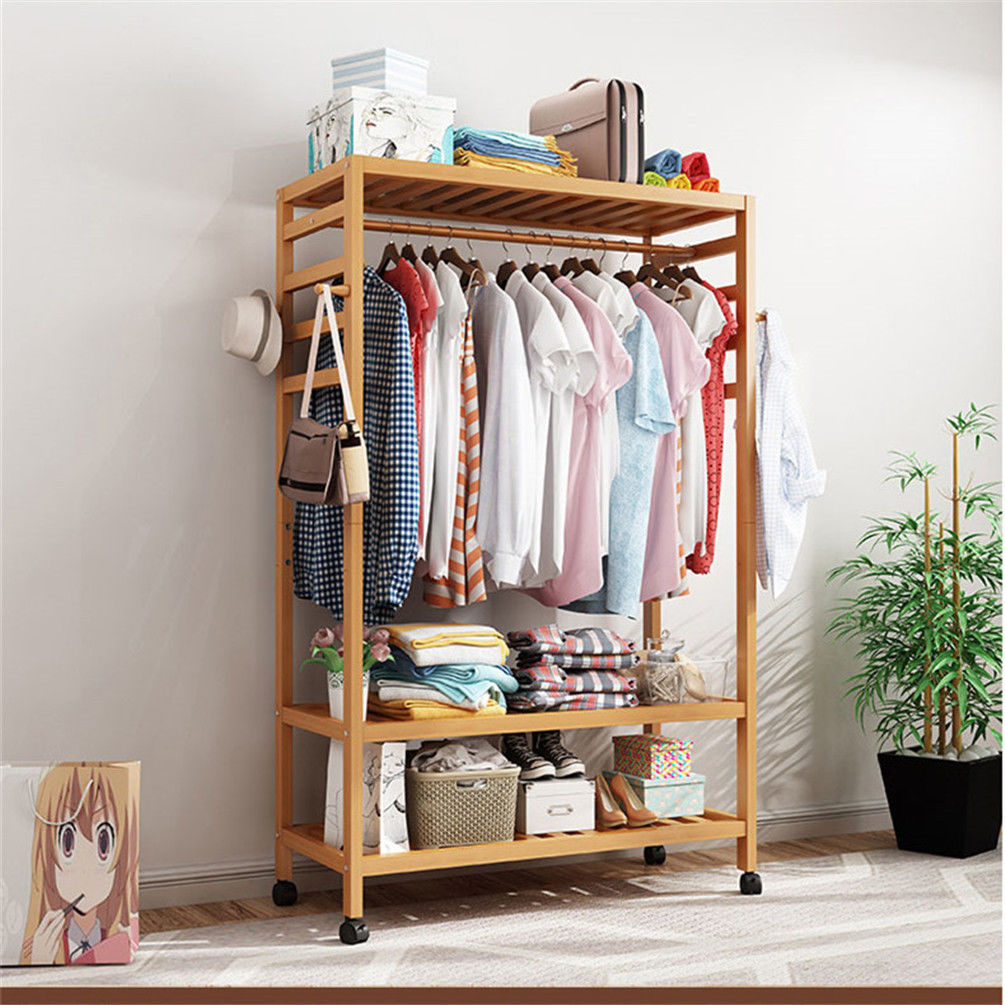 3 Tire 2 In 1 Heavy Duty Garment Rail Wooden Clothes Rack