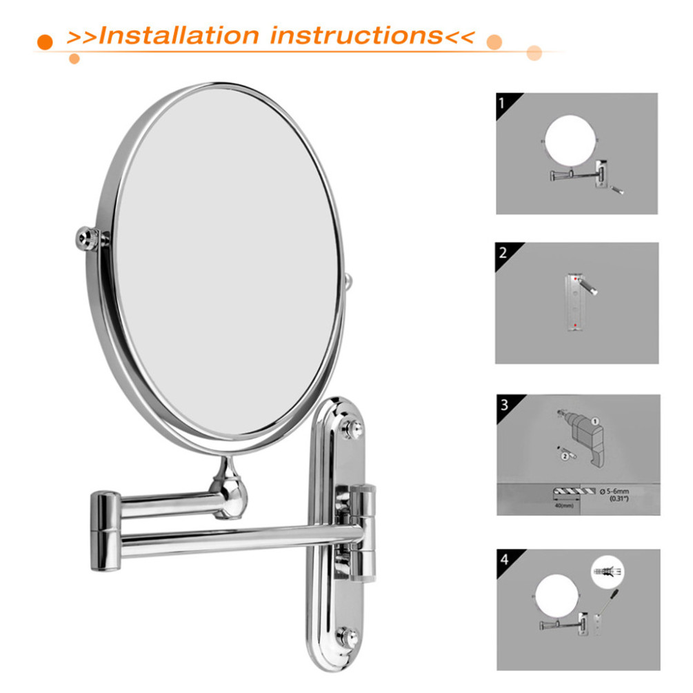 Double Sided Wall Mount 1 10x Magnifying Cosmetic Shaving