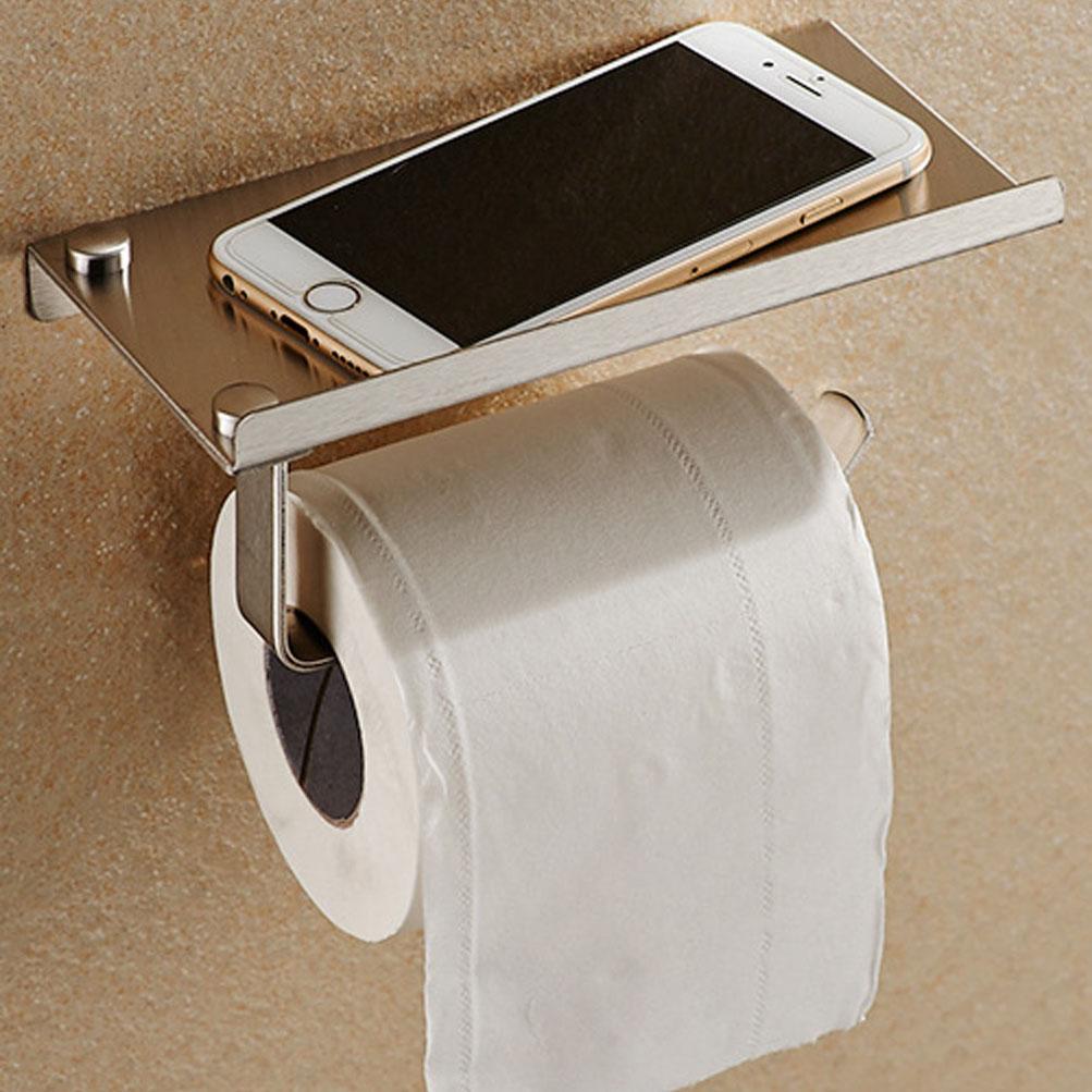 Estrend Bathroom Toilet Paper Holder Stainless Steel Wall Mounted Tissue Roll Hanger Brushed