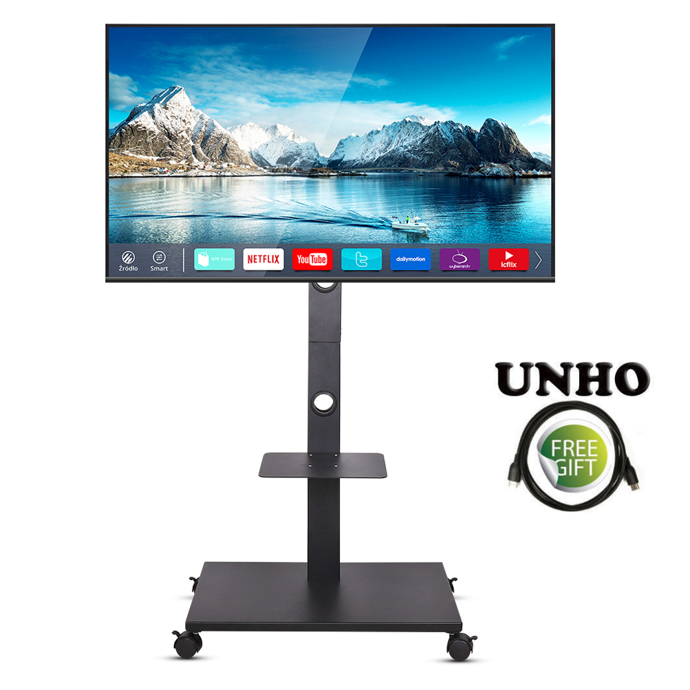 Details About Floor Universal Tv Stand With Mount Mobile Wheels Solid Metal Base Fr 37 70