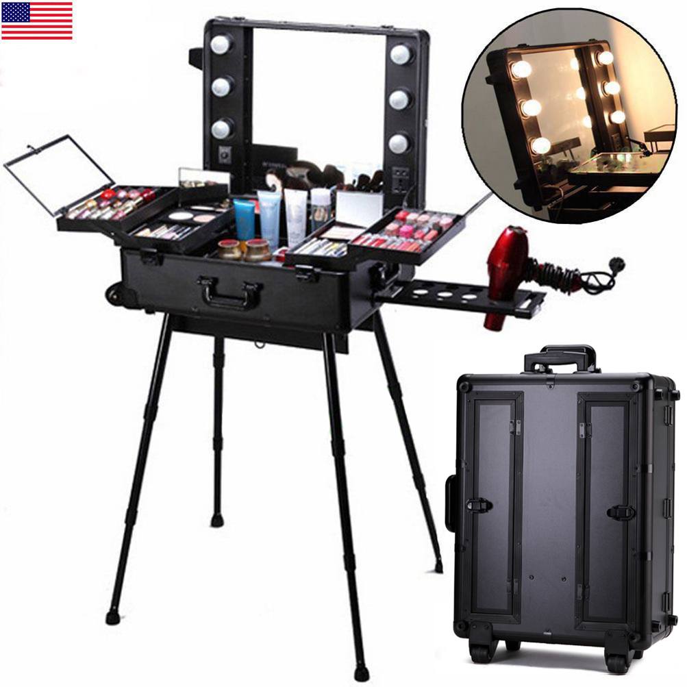 professional makeup case light station large portable. Black Bedroom Furniture Sets. Home Design Ideas