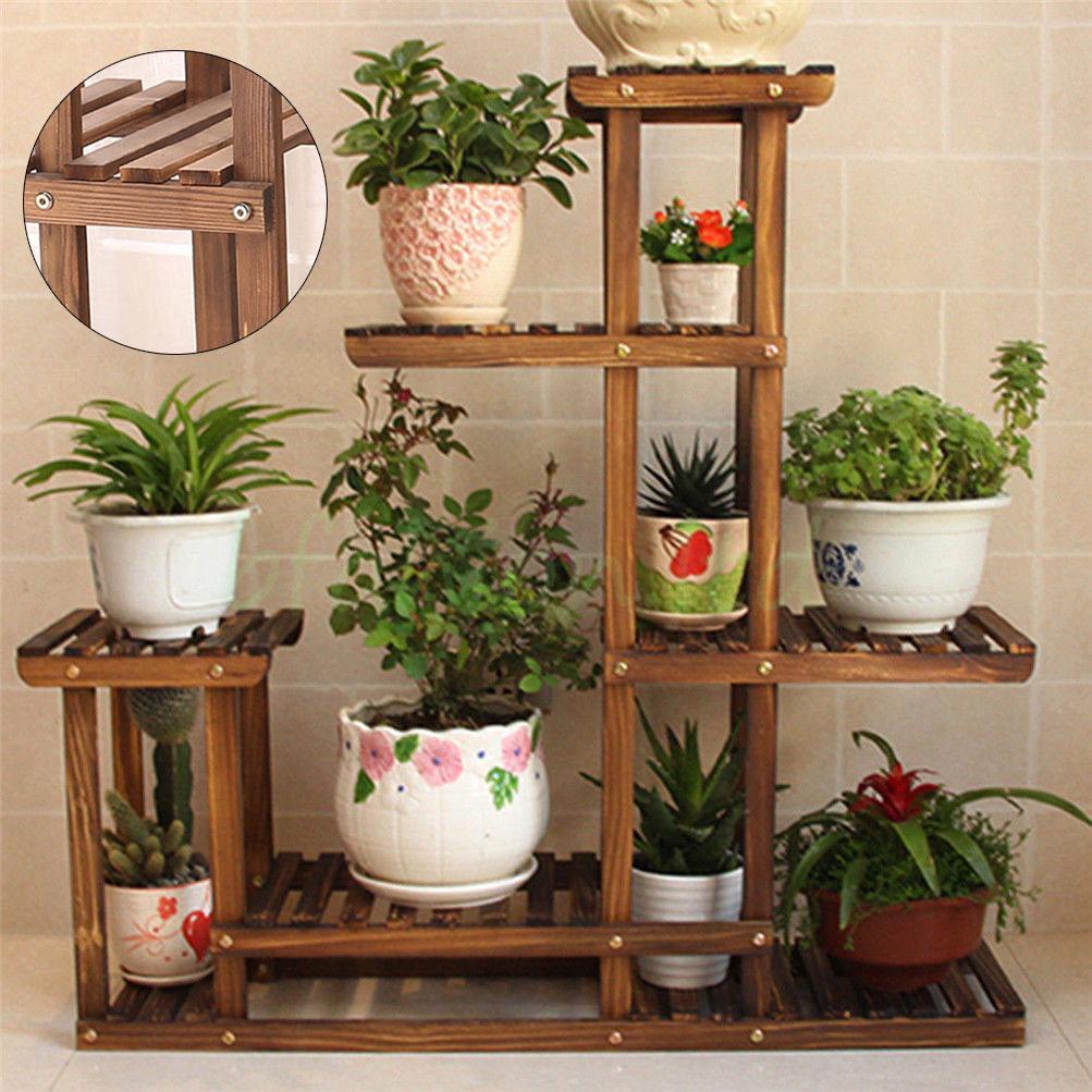 Garden Wooden Plant Stand Pot Planter Holder Rack 5 Tier