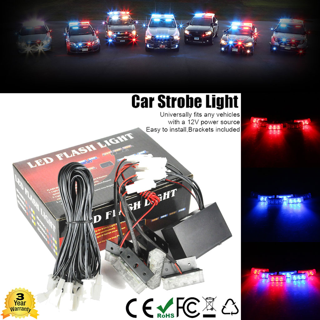 Details About 6x 3 Led Blue Red Emergency Warning Car Auto Boat Grill Bar Police Strobe Lights