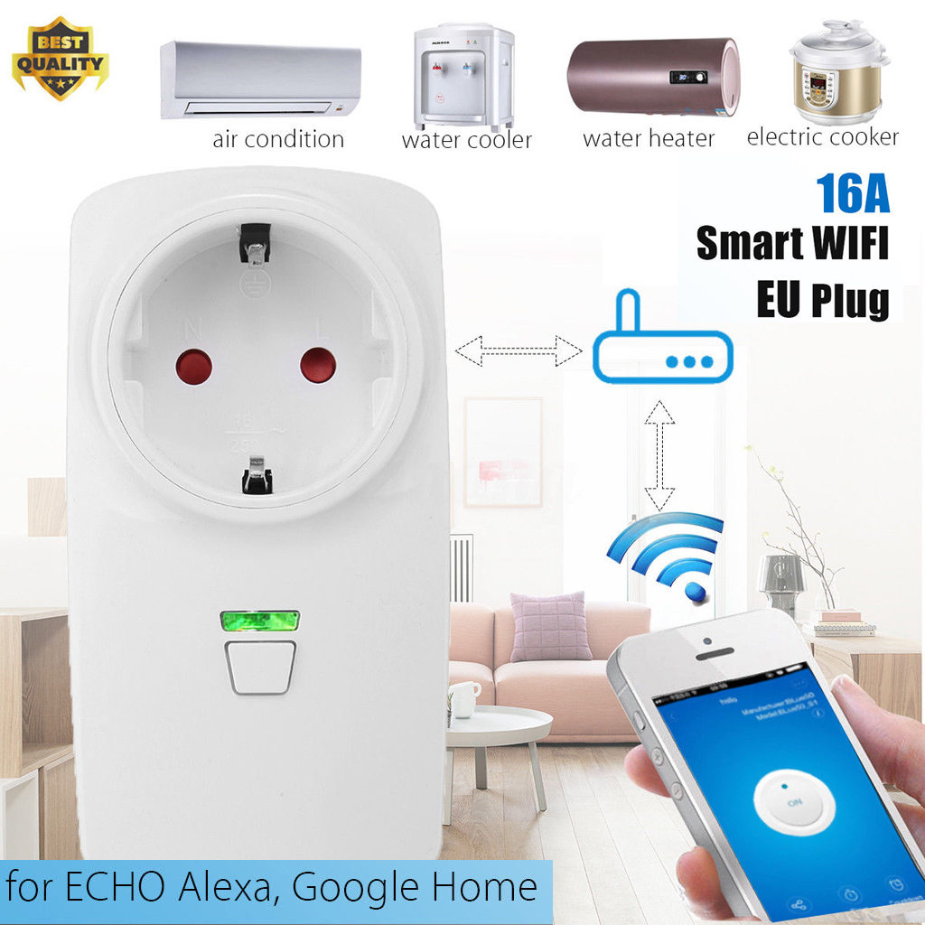 16a wifi smart plug socket outlet timer switch app for alexa google home nest ebay. Black Bedroom Furniture Sets. Home Design Ideas