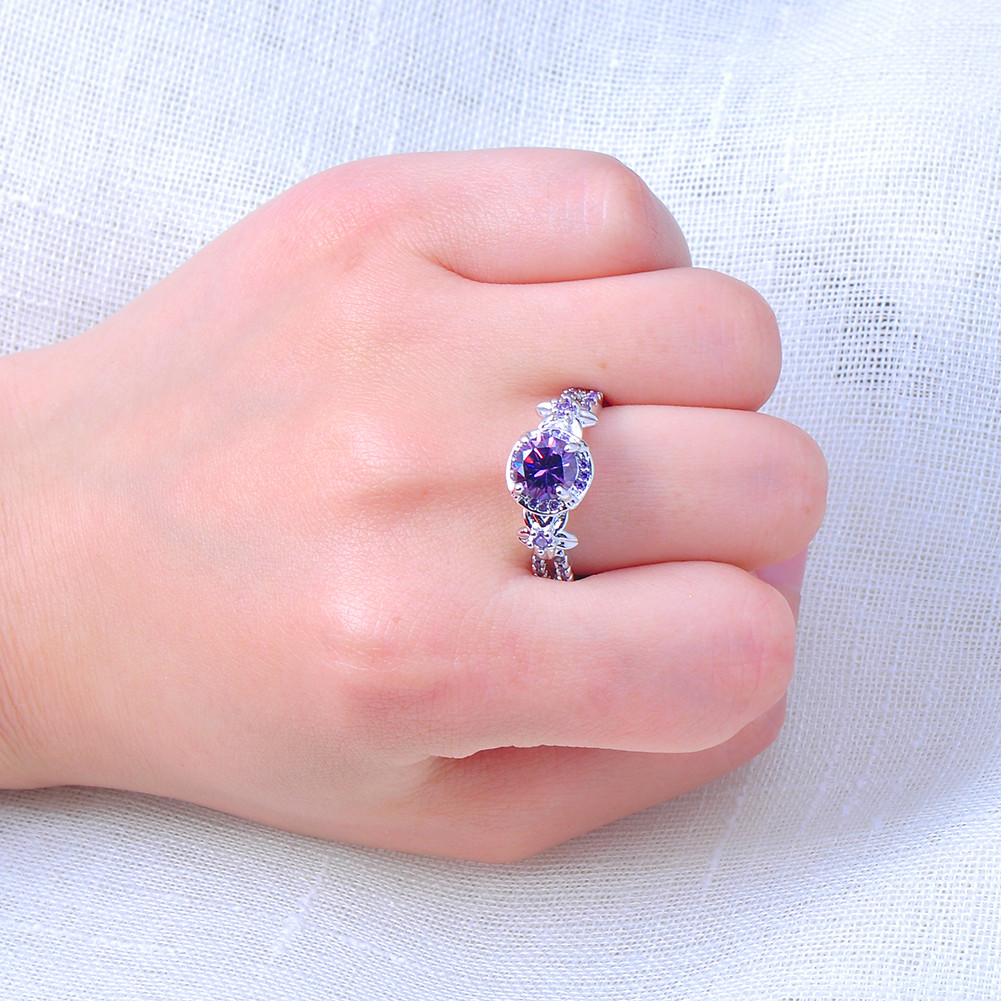 Vintage Purple Amethyst CZ Crystal Wedding Ring 10KT White Gold ...