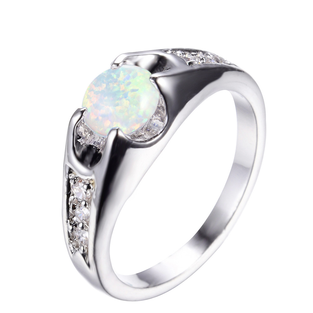 Elegant Round Cut White Fire Opal Wedding Ring White Gold Jewelry