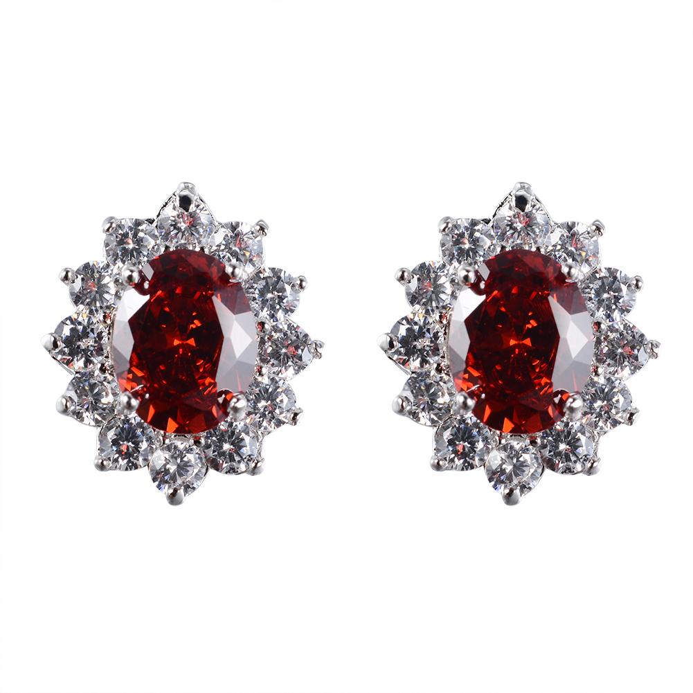 Women S Fashion Oval Zircon Crystal Ear Stud Earrings
