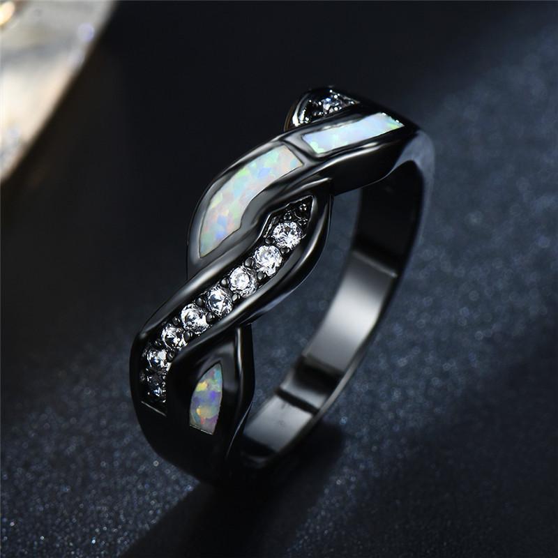 Fashion Wavy White//Blue Fire Opal CZ Cross Band Wedding Ring Black Gold Filled