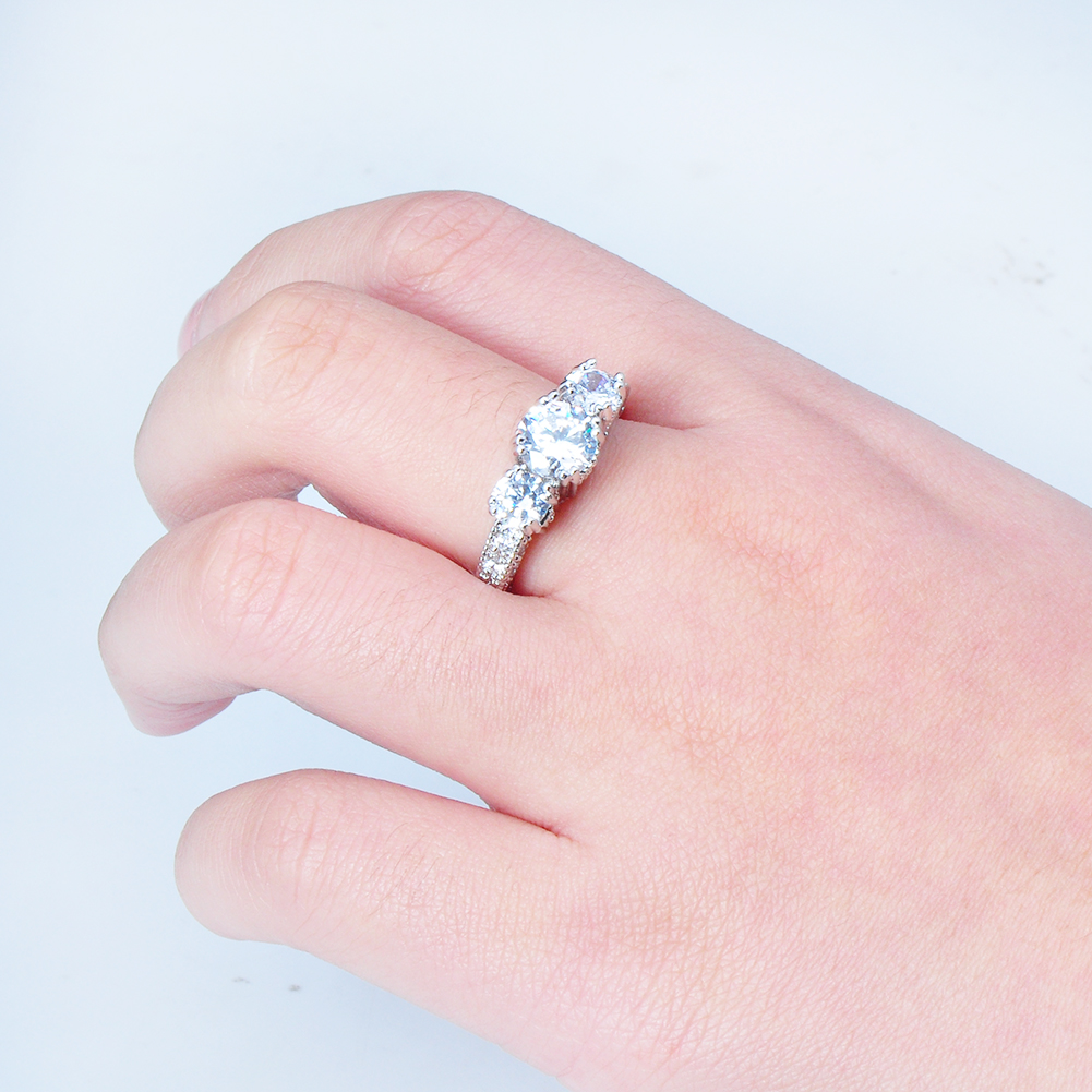 Women Jewellery Ring Size 5 White Sapphire Lady\'s 10kt white gold ...