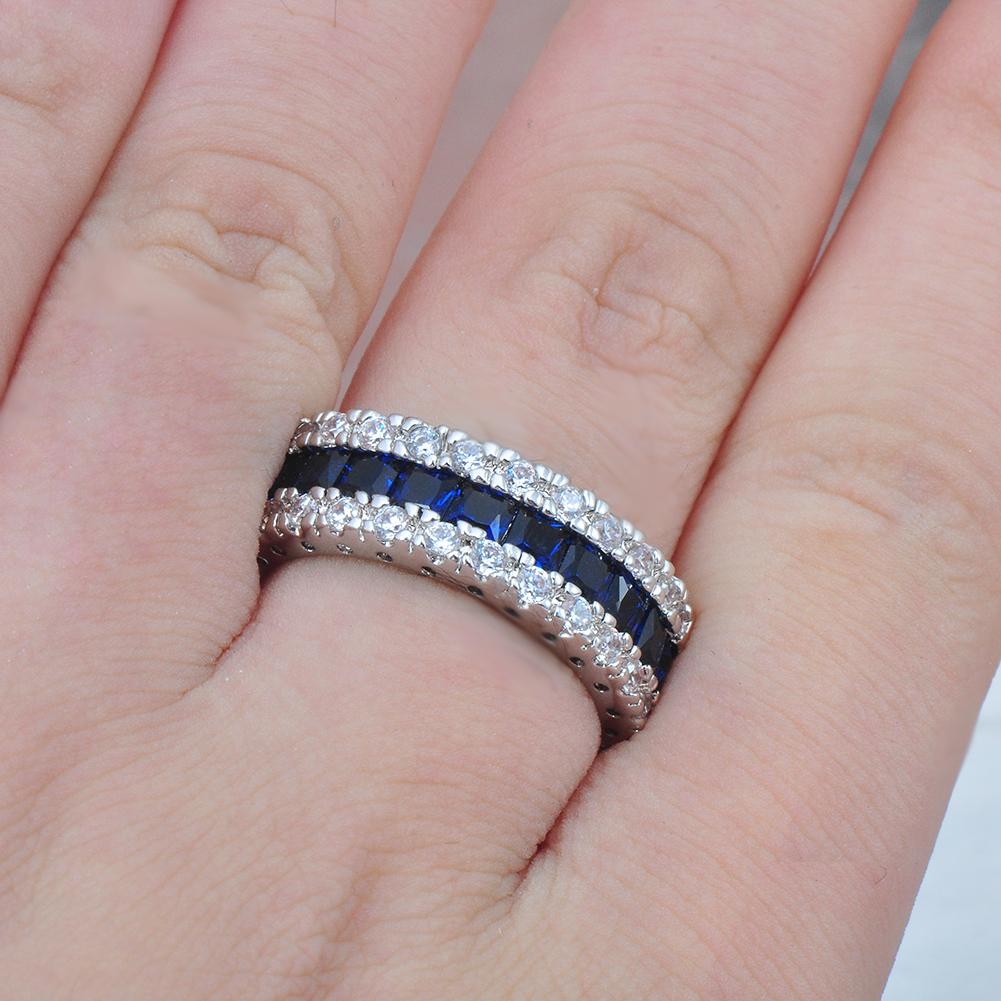 US 10KT White Gold Blue Sapphire Engagement Ring Women\'s Wedding ...