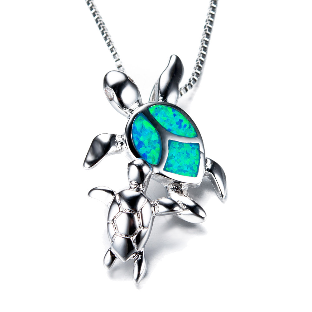 amazon silver baby necklace com with pendant cz box jewelry gifts dp mom and opal turtle blue simulated chain sterling
