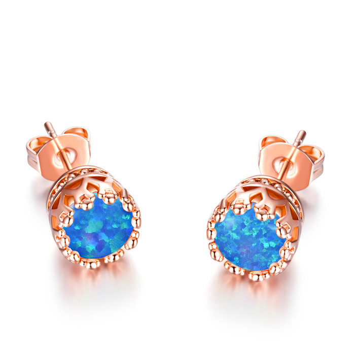 buy stud box store and plated free aliexpress blue earrings earring color s opal women gold product gift fire rose com men