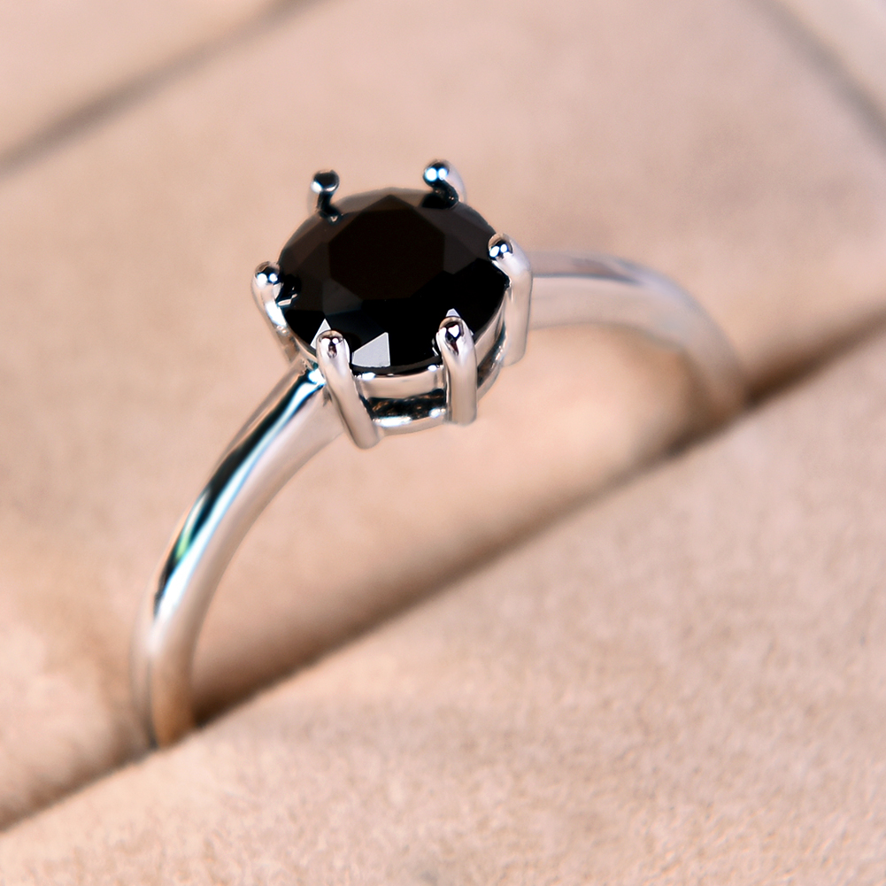 Classic White Gold Filled Engagement Six-Claw Sapphire Ring Wedding ...