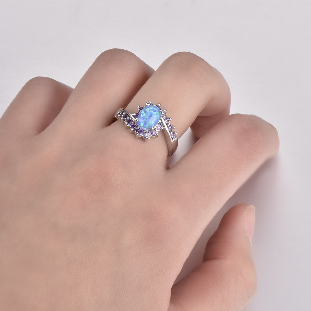 Oval Cut Blue Fire Opal Ring 925 Silver Amethyst Gemstone Wedding ...