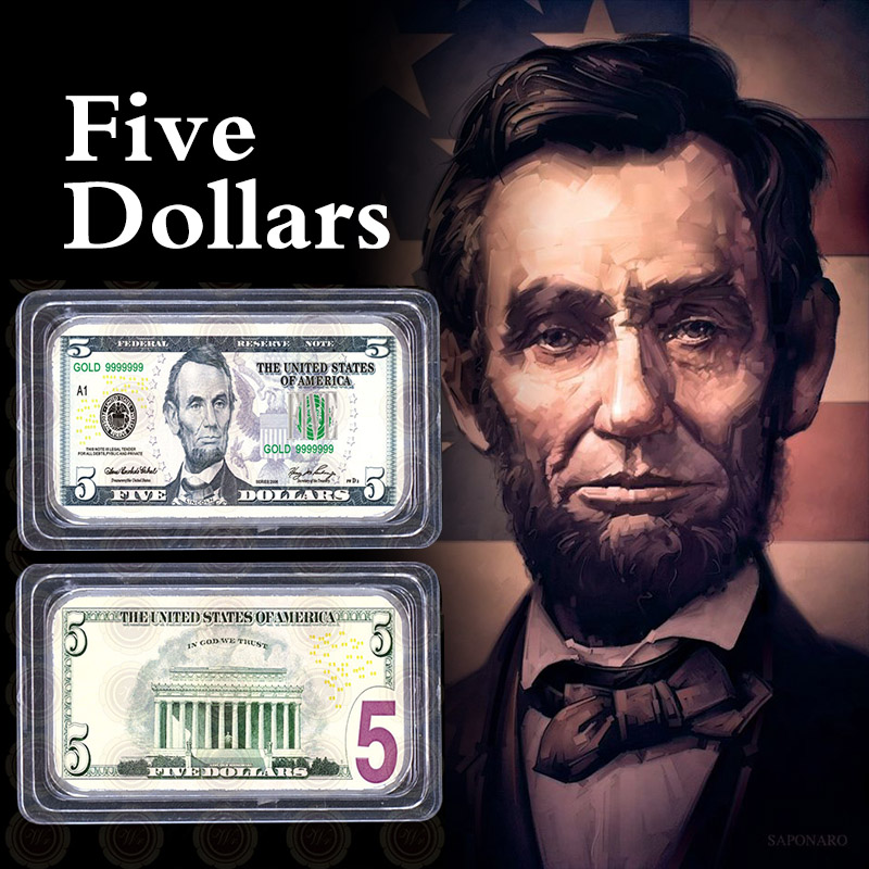 WR 1891 US $1-500 Dollar Note Bill Silver Banknote Art Bar Collection Set