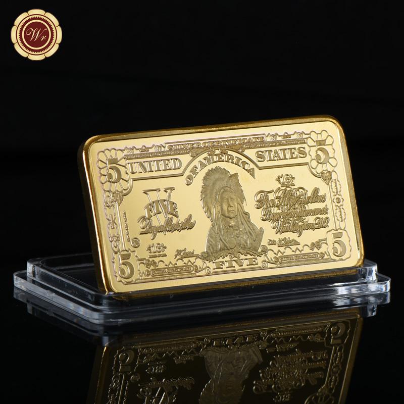 WR United States $5 Five Dollar  Fine Gold Art Bar Bullion Holiday Gifts