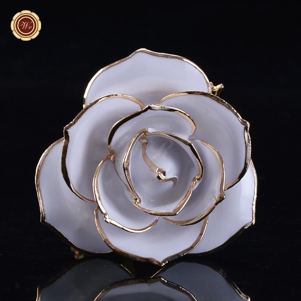 Wr Everlasting White Rose 24k Gold Dipped Natural Flower Romantic