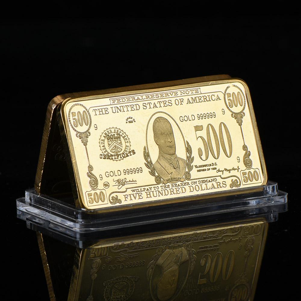 WR Old US Currency $500 Dollar Bill 999 Gold Clad Bullion Bar ...