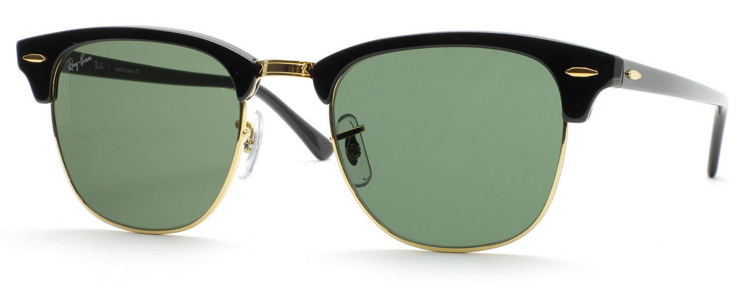 b59a5f87a3 Ray-Ban Clubmaster Sunglasses RB3016 W0365 Black Green 51mm Free ...
