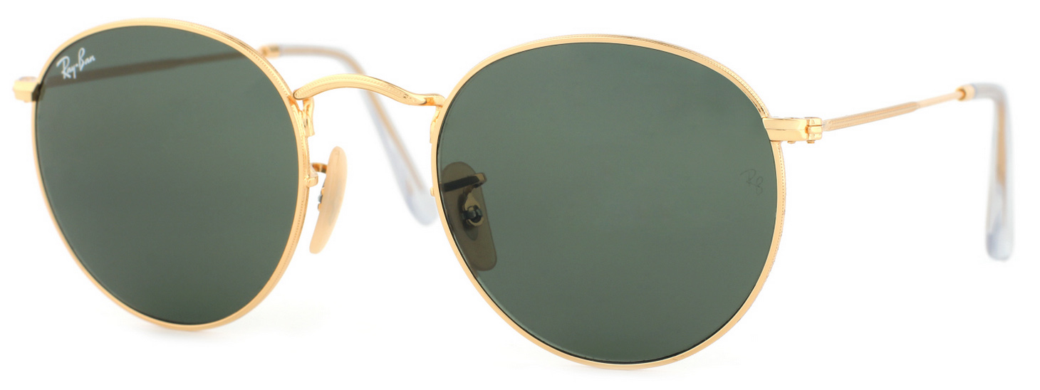 9737dd552abbb Ray-Ban Round Metal Sunglasses RB3447 001 Gold Green 50mm Free Shipping