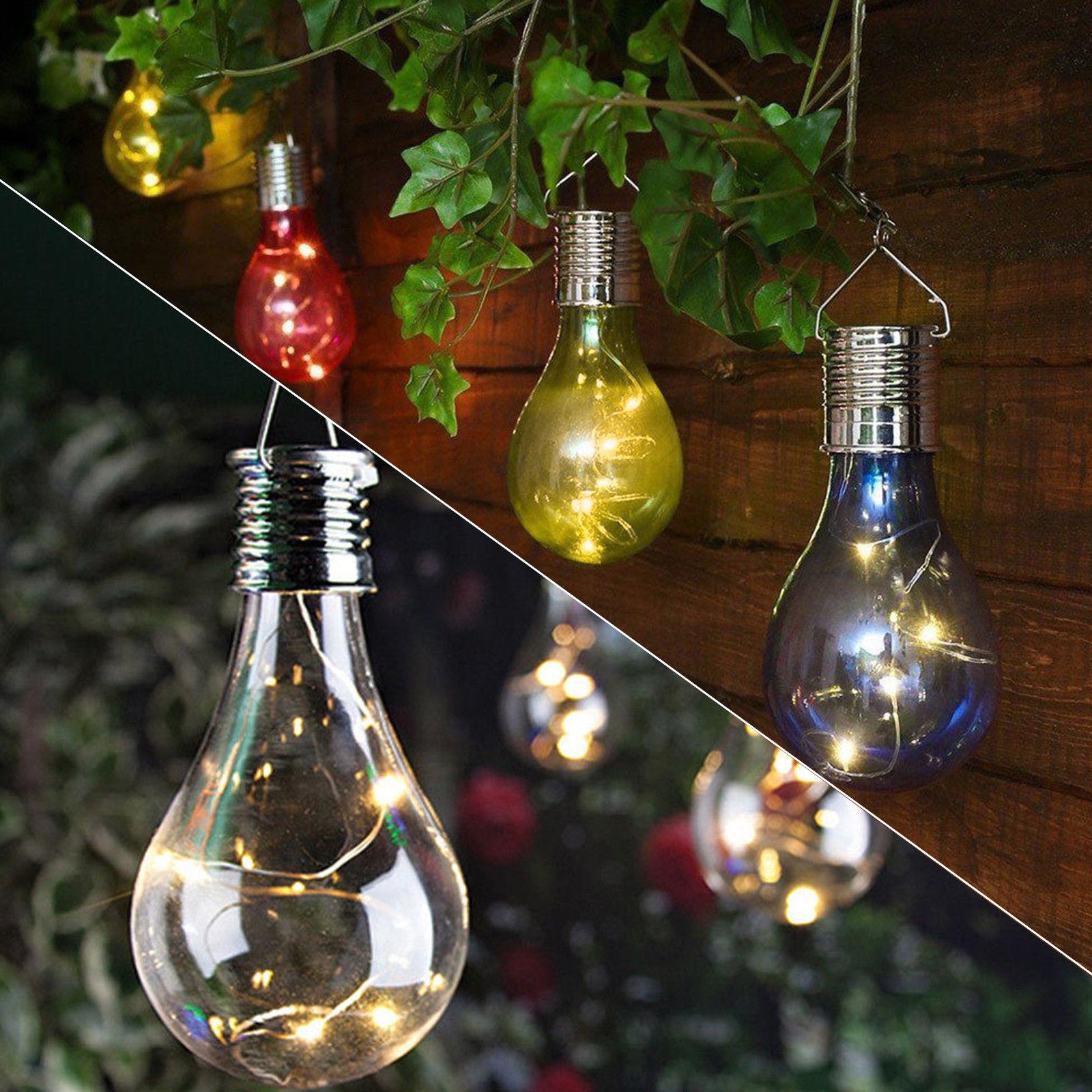 LED Solar Powered Bulb Light Outdoor Garden Hanging Decor Lamp ...