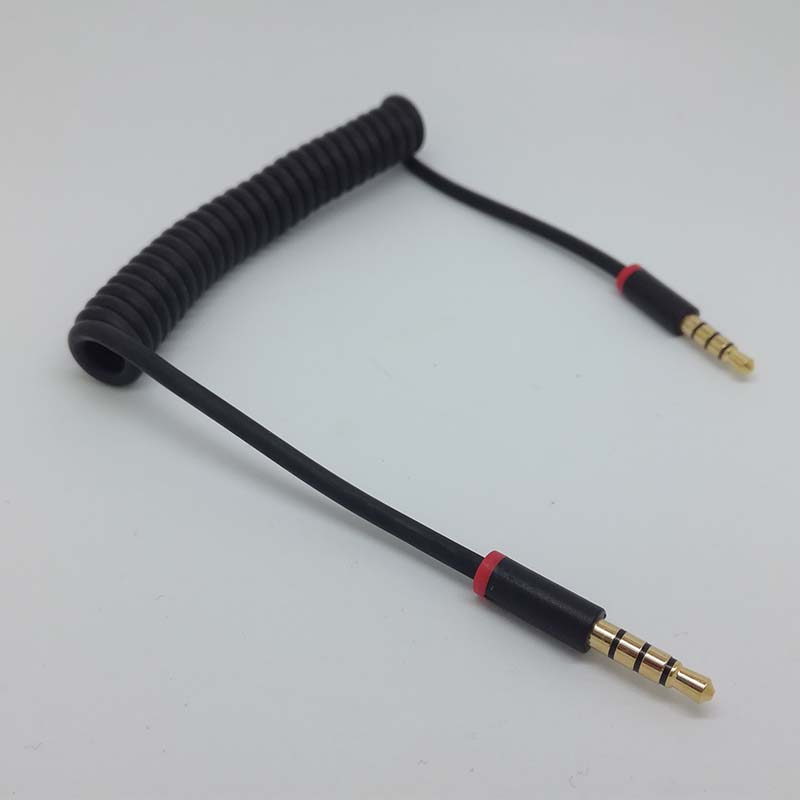 3ft 4-Pole Spring Coiled 3.5mm Aux Cable w/ Mic Gold Stereo Audio ...