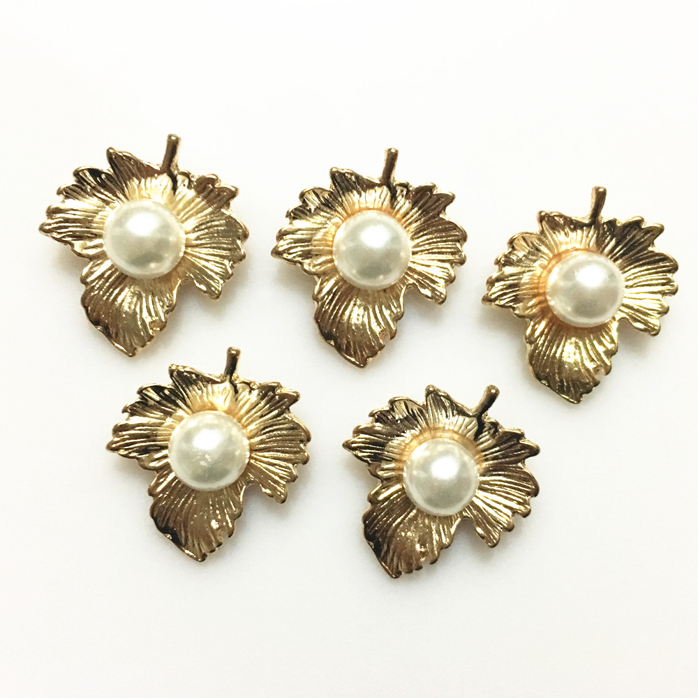 5pcs Pearl Flower Alloy Buttons Flatback Crystal Wedding Clothing Craft Supplies