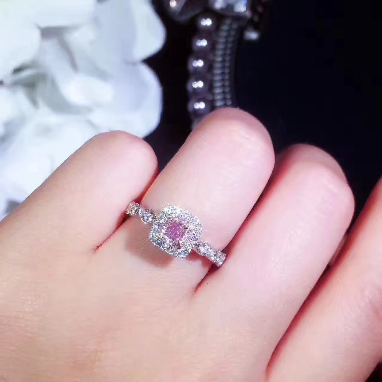Dazzling Square Cut Pink Diamonique CZ 18K White Gold Filled Wedding ...