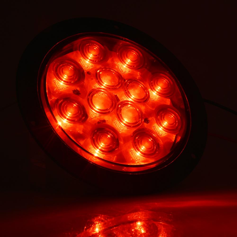 2x 4 U0026quot  Round 12 Led Smoked Lens Red Stop Turn Brake Tail