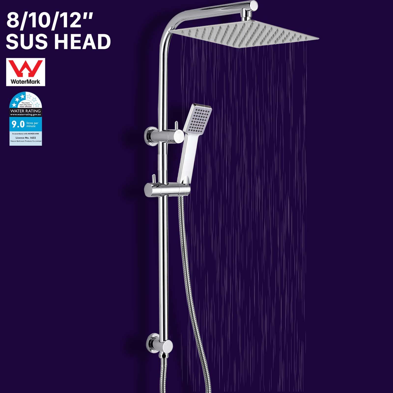 "Square 8//10//12/"" Thin Rain Shower Head Handheld Sliding Rail Diverter Arm Set"