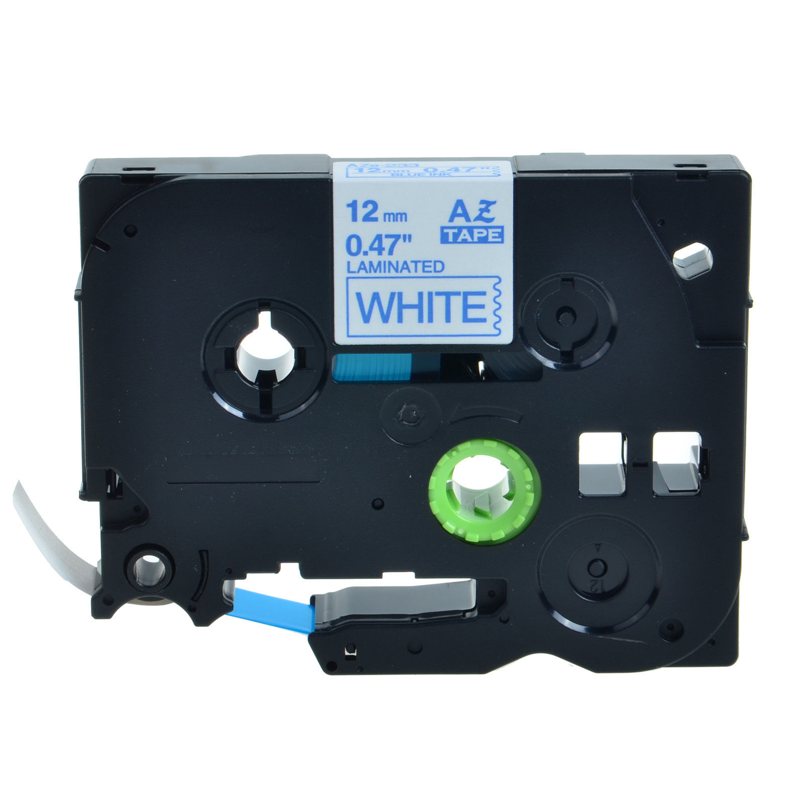 2 Packs 12mm TZ233 TZe233 Blue on White Label Tape for Brother P-Touch 0.47inch