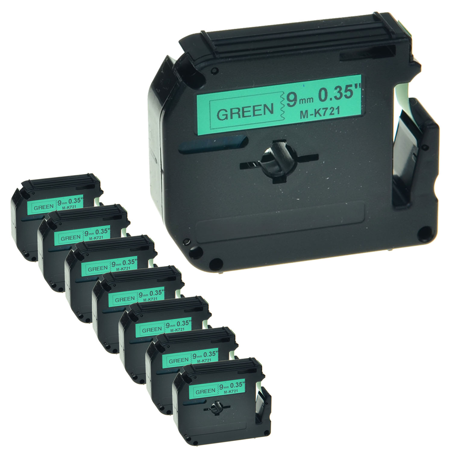 """6PK MK-721 MK721 Black on Green Label Tape for Brother P-Touch PT-70HK 9mm 3//8/"""""""