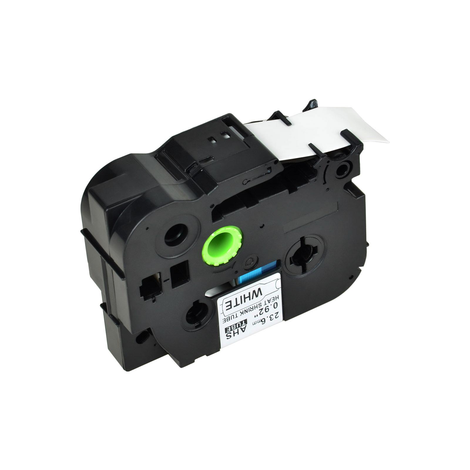 2 PK HSe251 Heat Shrink Tube Black on White Label for Brother PTE500VP 23.6mm