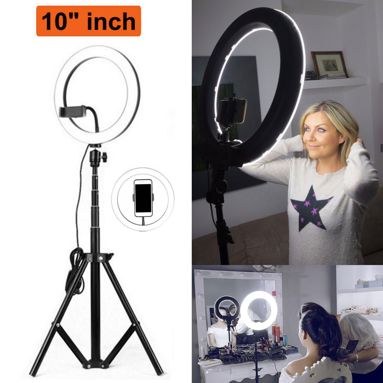 """10/"""" LED Ring Light Lighting For Makeup Dimmable Youtobe Studio Phone Selfie UK"""