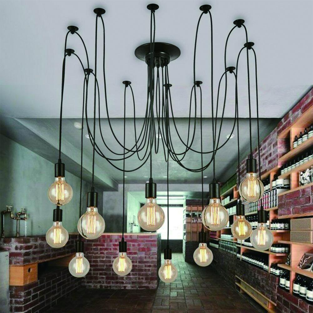 Details about vintage multiple diy ceiling light adjustable fitting spider lamp pendant lights