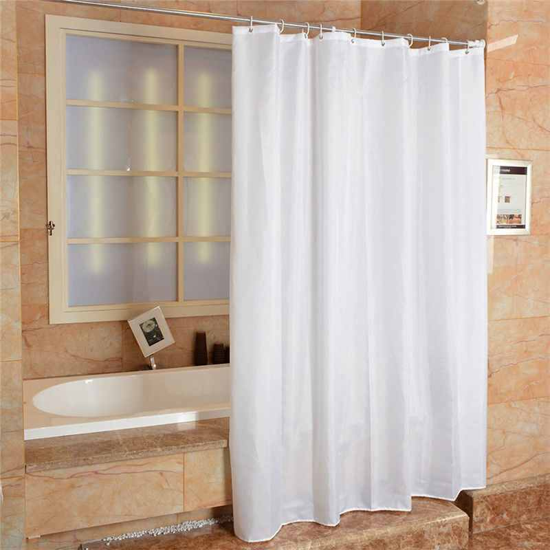 Fabric Shower Curtain Plain Extra Wide Long Standard With Hooks Ring ...
