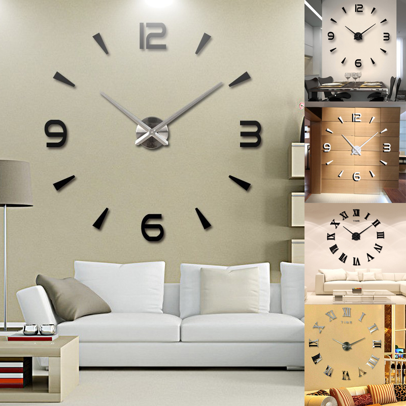 Modern DIY 3D Large Number Mirror Wall Clock Sticker Decor for Home Office Room