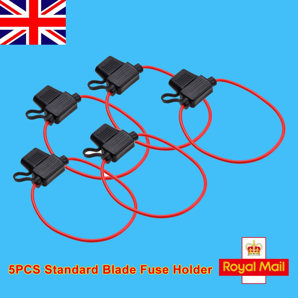 UK 5x Mini Blade Inline Fuse Holder Splash Proof DC 12V 20A Fuses Car Bike