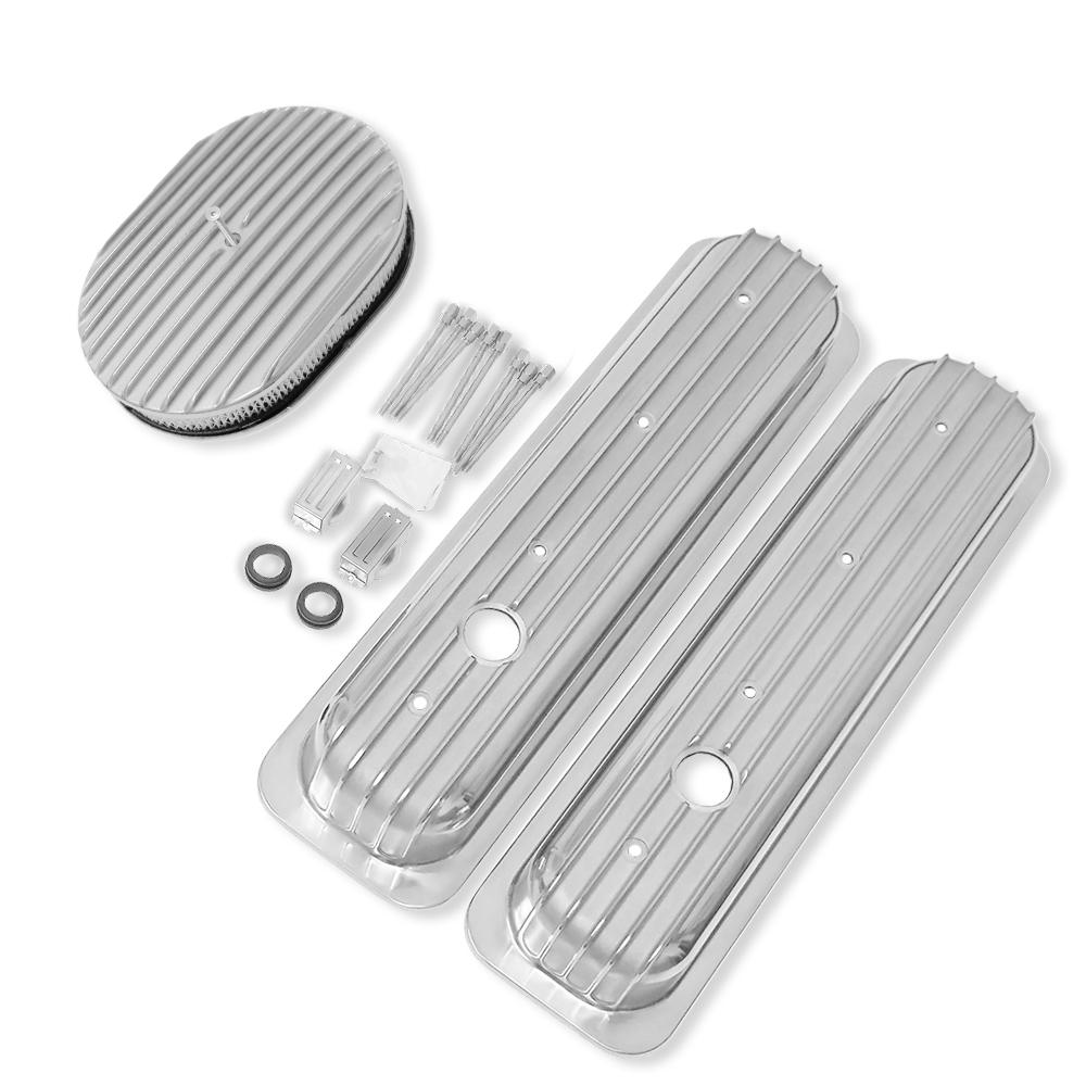 """58-86 Chevy Black Aluminum Short Finned Valve Covers 12/"""" Finned Air Cleaner Kit"""
