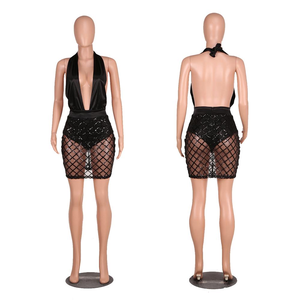 Women-Sexy-Mesh-Deep-V-Sequins-Halter-Bodycon-Mini-Dress-Black-Club-Party-S-XL