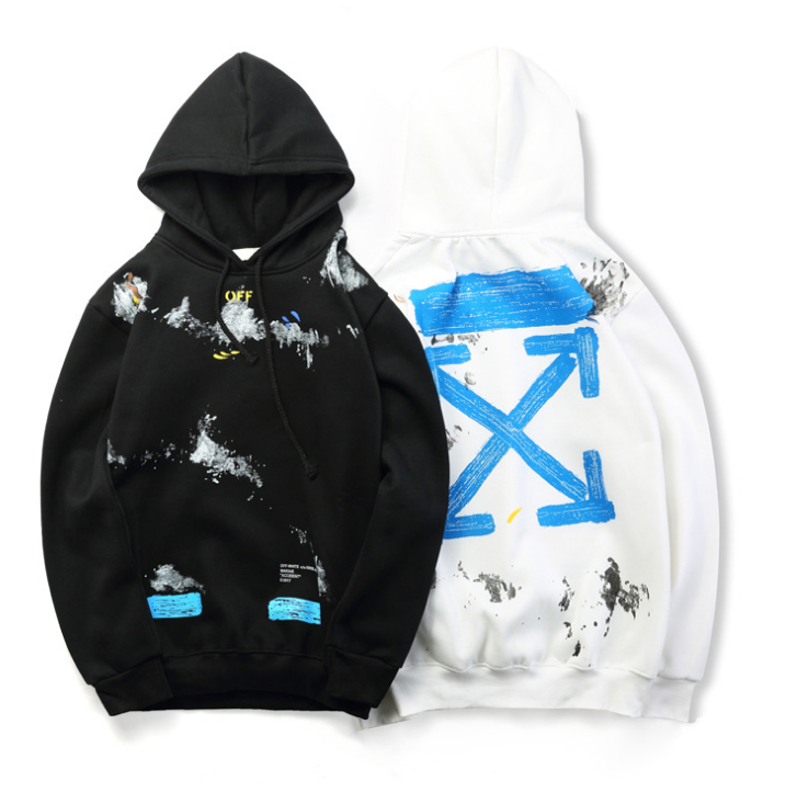 92f556162ab0 NEW OVERSIZED KANYE WEST OFFWHITE style C O Virgil paint Print Hoodies