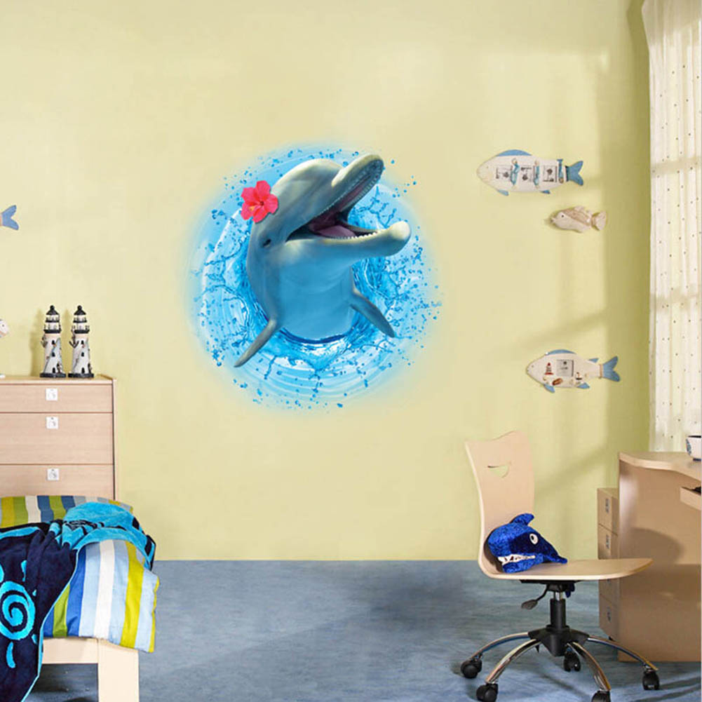 3D Dinosaur Dolphin Head Wall Stickers for Kids Rooms Mural Art ...