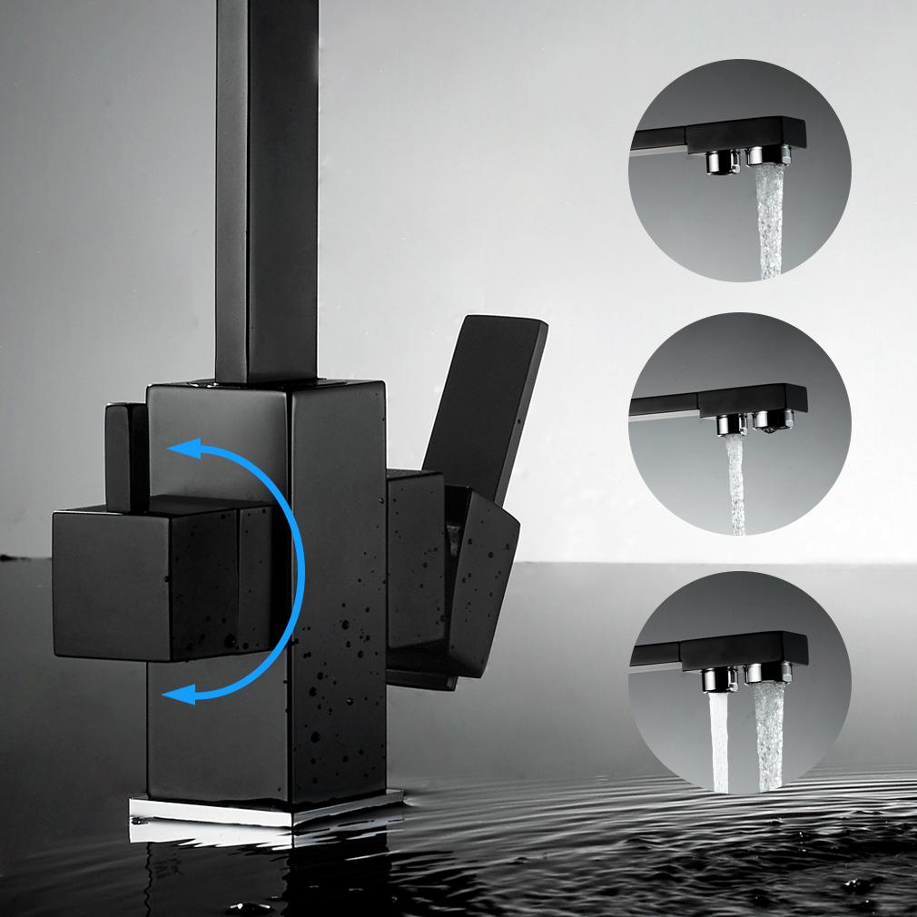 schwarz k chenarmatur mit filter wasserhahn einhandmischer. Black Bedroom Furniture Sets. Home Design Ideas