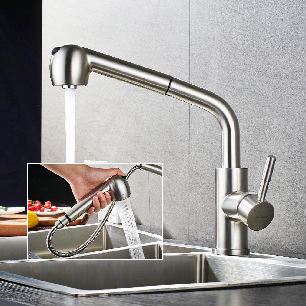 Ausziehbar Küchenarmatur Wasserhahn Einhebel Mischbatterie mit ...